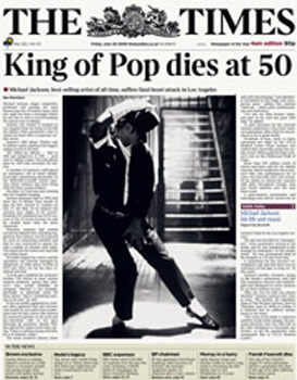 Times MJ cover 26/06/09